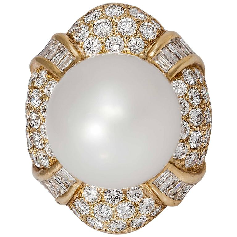 South-Sea Pearl Diamond Gold Ring