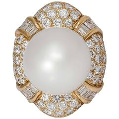 South-Sea Pearl Diamond Gold Ring