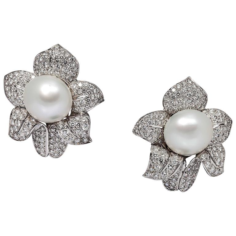 South Sea Pearl Diamond Platinum Earrings