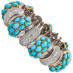 Turquoise Diamond Gold Bracelet