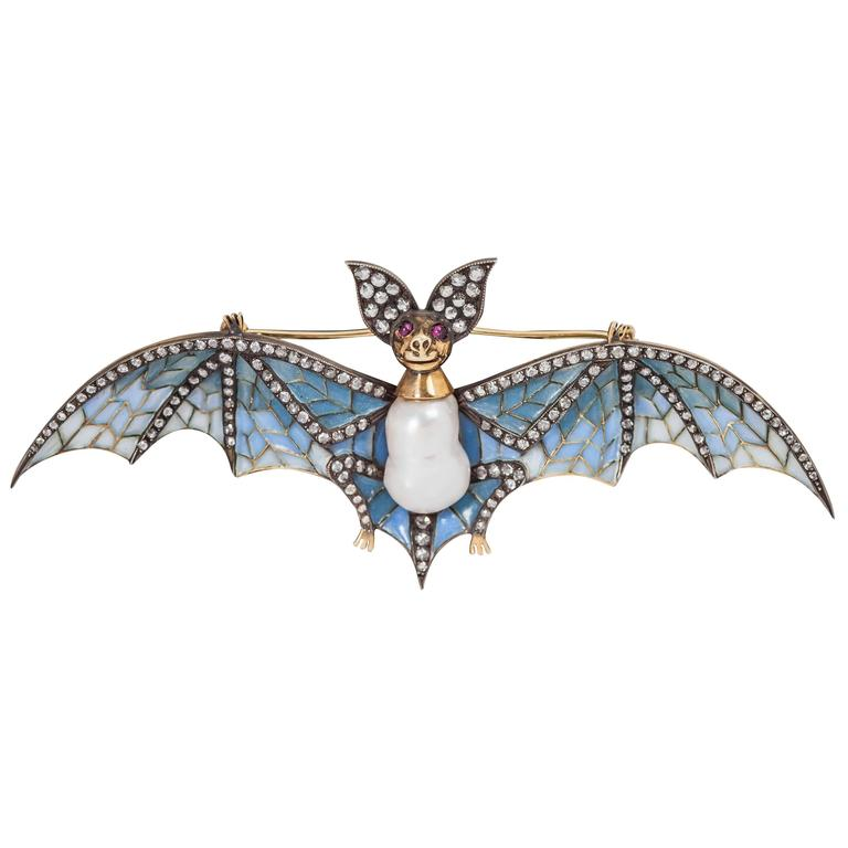 Plique a Jour Pearl Ruby Diamond Silver Gold Bat Pin 1