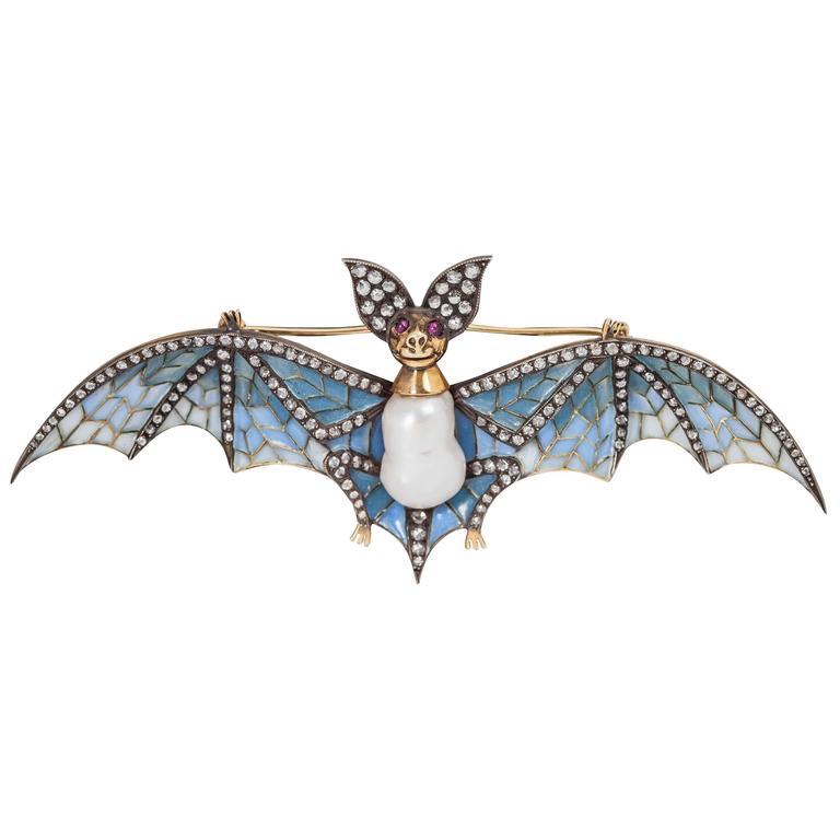 Plique a Jour Pearl Ruby Diamond Silver Gold Bat Pin For Sale