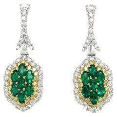 Plat/18KT YG 3.00Ct Emerald Earrings with 2.66Ct Diamonds 1.07Ct Yellow Diamonds