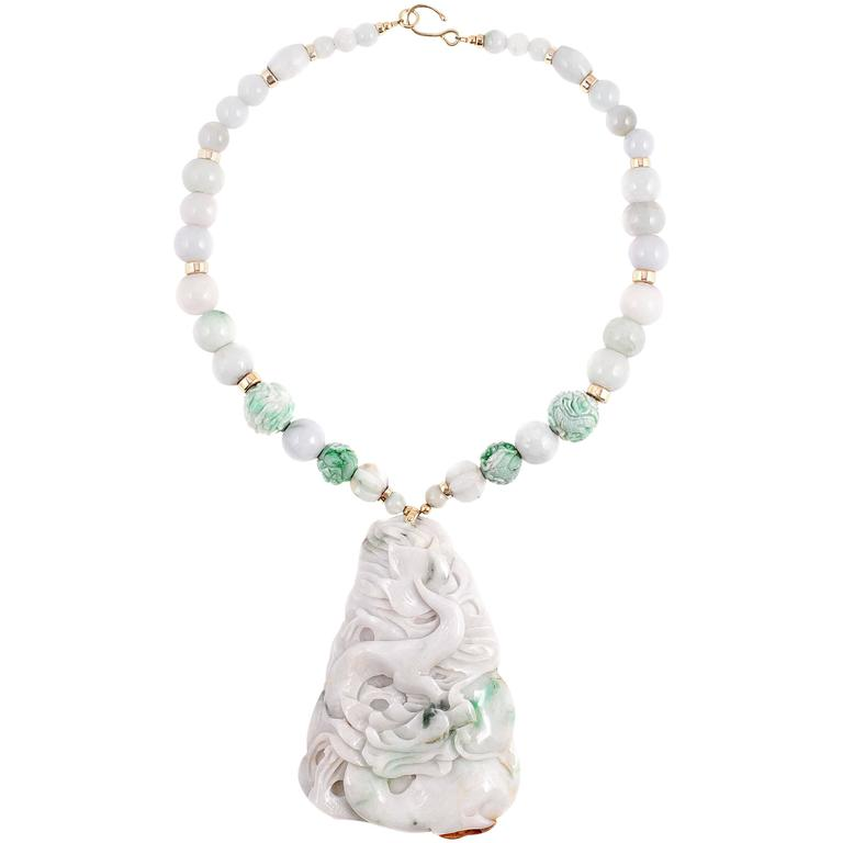 Mottled Jade 14 karat Gold Pendant Necklace For Sale