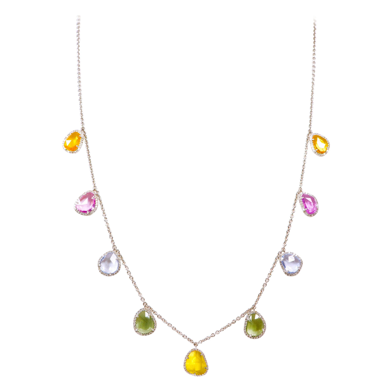 18 Karat Gold 14.86 Carat Multi-Color Sapphire and Diamond Drop Link Necklace