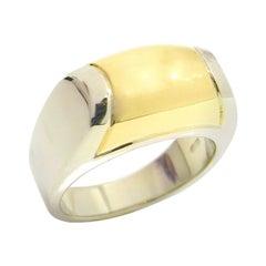 Vintage Bvlgari Bulgari Tronchetto 18 Karat Yellow White Gold Ring with Box