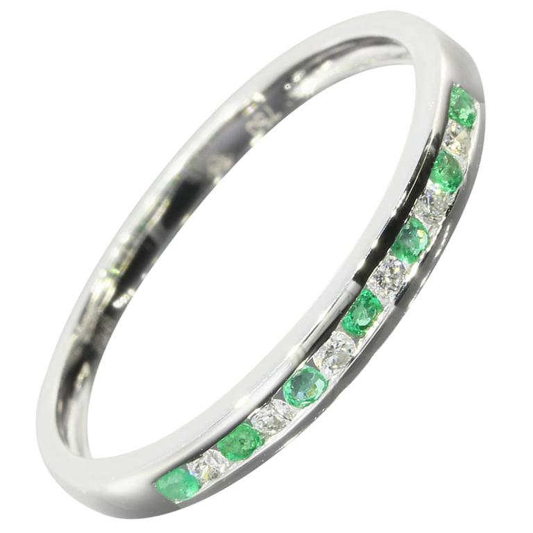 emerald gold alternating channel band ring at 1stdibs