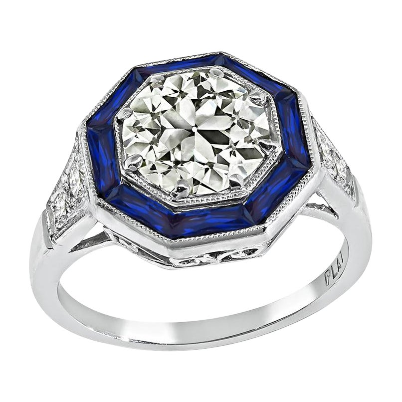 1.75ct Diamond Sapphire Engagement Ring