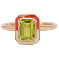 Art Deco Style 0.85 Ct Peridot 14K Gold Cocktail Ring