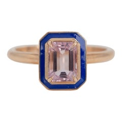 Art Deco Style 0.96 Ct. Morganite 14K Gold Cocktail Ring