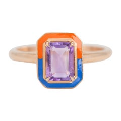 Art Deco Style 0.93 Ct Amethyst 14K Gold Cocktail Ring