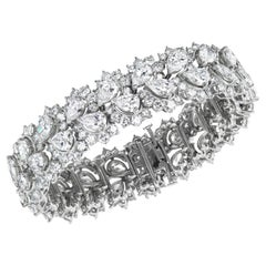 Pear Shape Diamond and Platinum Cluster Bracelet