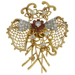 1940s Ruby Diamond Gold Butterfly Brooch