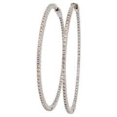 Estate White Diamond Hoops in 14k White Gold