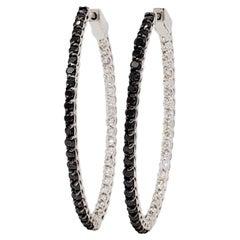 Estate Black and White Diamond Oval Shape Hoops in 14k White Gold