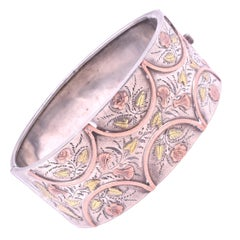 Victorian 2 Color Gold Bangle Bracelet of Carved Leaves Lilies and Roses
