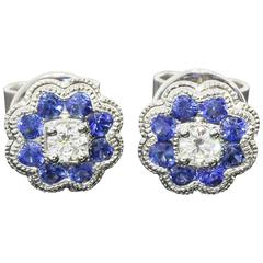 Blue Sapphire Diamond Gold Halo Earrings