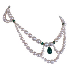 Marina J. Graduated & Draped Pearl, Emerald Necklace with 14K Yellow Gold