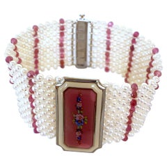Marina J. Pearl and Ruby Bracelet with 1940s Vintage Enameled Centerpiece