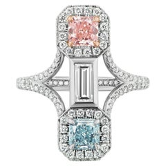 GIA Certified Natural Pink and Natural Blue Diamond Cocktail Ring