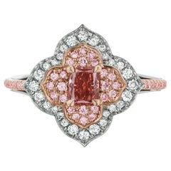 Argyle 389197 and GIA 2215082302 Certified Fancy Deep Orangy Pink Ring