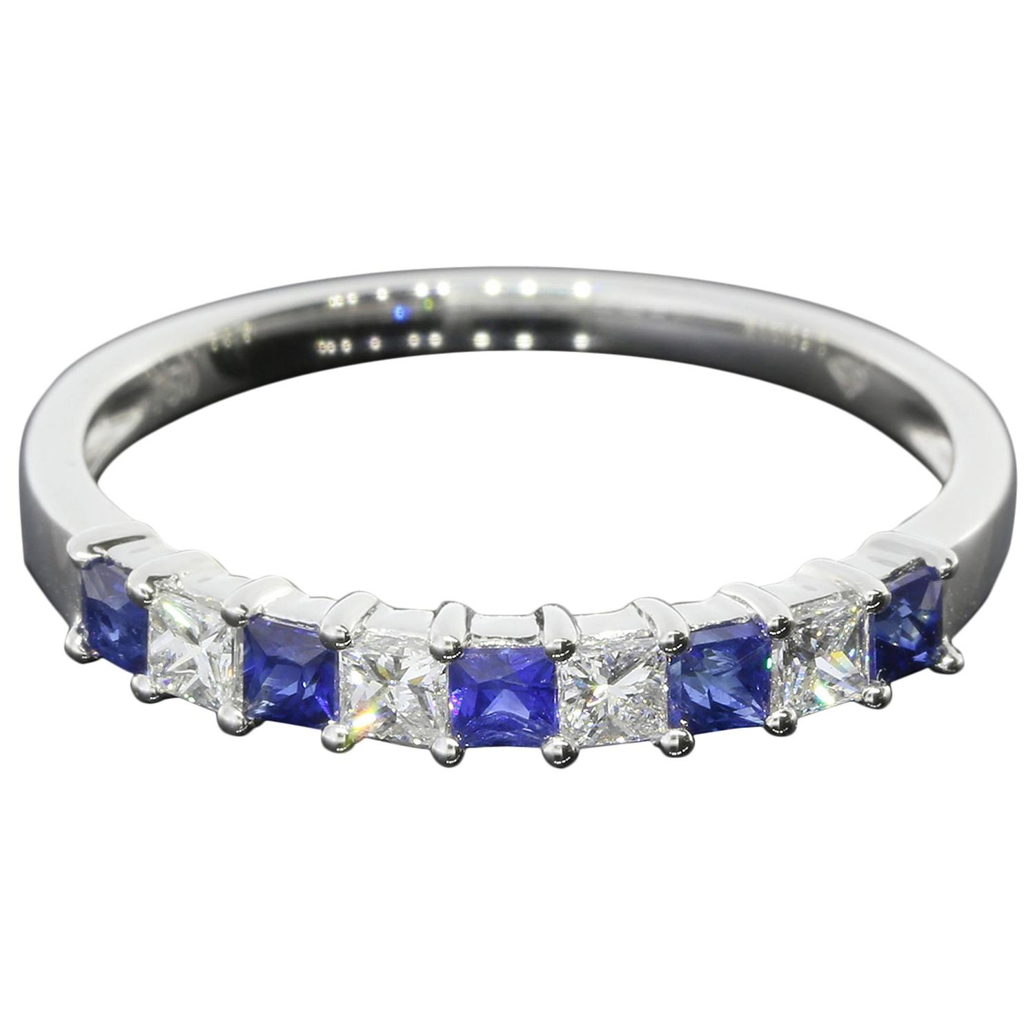 sapphire gold princess cut band ring at 1stdibs