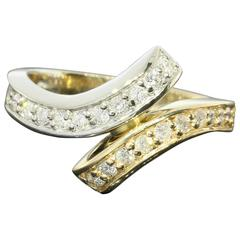 Diamond Two Color Gold Bypass Ring