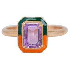 Art Deco Style 0.92 Ct Amethyst 14K Gold Cocktail Ring
