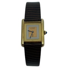 Vintage Cartier Must De Cartier Tank 18k Gold Plated Mechanical Swiss Watch