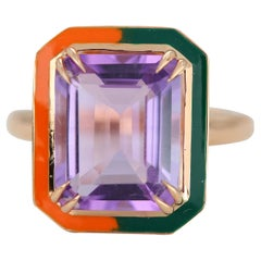 Art Deco Style 4.60 Ct Amethyst 14K Gold Cocktail Ring