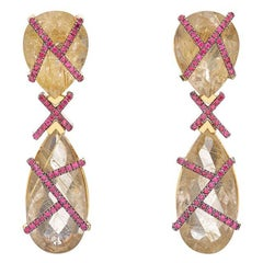 Earrings in 18k Yellow Gold with Empire Rutilated Quartz & Rubies in Stock