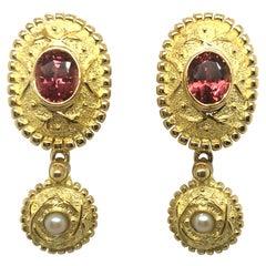 18 Karat Yellow Gold Rhodolithe Garnet and Cultured Pearls Earrings
