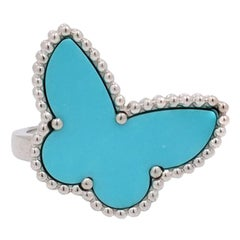 Van Cleef & Arpels Lucky Alhambra Butterfly White Gold and Turquoise Ring