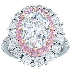 2 Carat GIA Oval Diamond Ring Platinum Rose Gold