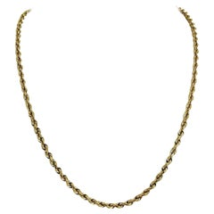 10 Karat Yellow Gold Solid Diamond Cut Rope Chain Necklace