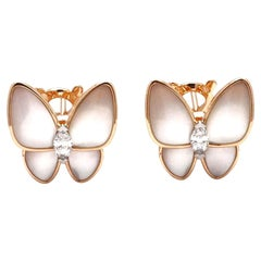 Van Cleef and Arpels 'Two Butterfly' Diamond and Mother of Pearl Earrings