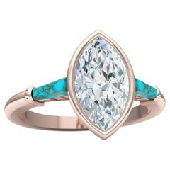 1.4 Carat Marquise Diamond and Turquoise Rose Gold Engagement Ring