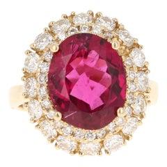 GIA Certified 5.63 Carat Rubellite Tourmaline Diamond 14 Karat Yellow Gold Ring