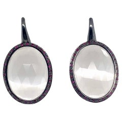 18k Black Gold Pendant Earrings with Large Quartz and Ruby