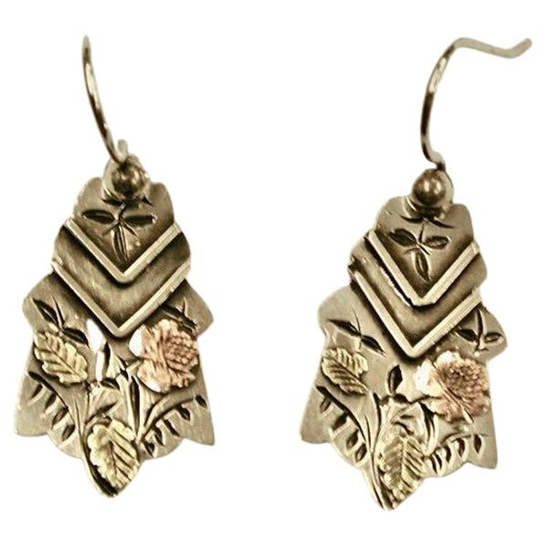Pair of Victorian Silver Aesthetic Movement Earrings, Dated Circa 1880