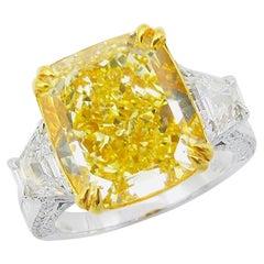 Emilio Jewelry GIA Certified 7.00 Carat Fancy Intense Yellow Diamond Ring