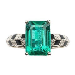 Pinstripe Strength Emerald Solitaire Knifedge Diamond and Black Enamel Ring