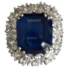 GIA Certified 10.27 Carats Blue Sapphire Diamond Ring