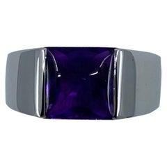Vintage Cartier 2 Carat Deep Purple Amethyst 18 Karat White Gold Tank Band Ring