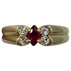 Vintage Van Cleef & Arpels Fine Vivid Red Ruby & Diamond Butterfly Marquise Ring