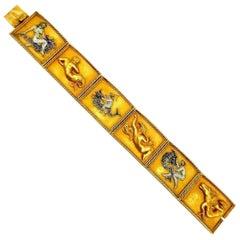 Vintage Yellow Gold Enamel Mythological Bracelet