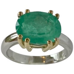 Gold Solitaire Ring Natural Colombian Emerald