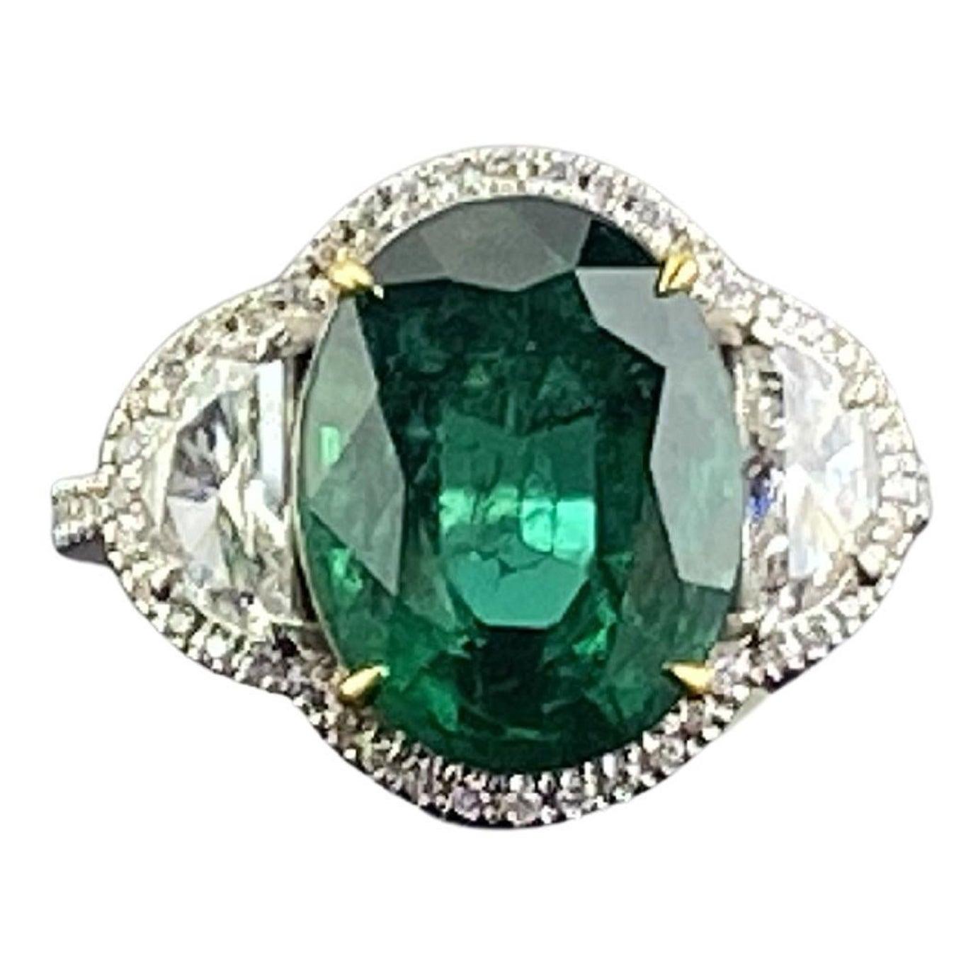 Certified 5.89 Carat Emerald and Diamond Three-Stone Engagement Ring