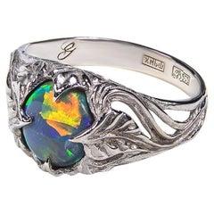 Dark Opal White Gold Ring Bright Multicolor Natural Gem Art Nouveau Style Unisex