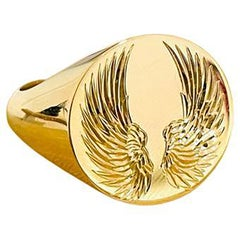 Engraved Angel Wings Signet Ring in 9ct Yellow Gold